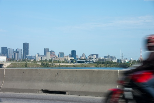 Driving across the St. Lawrence on the A20 in Montreal.