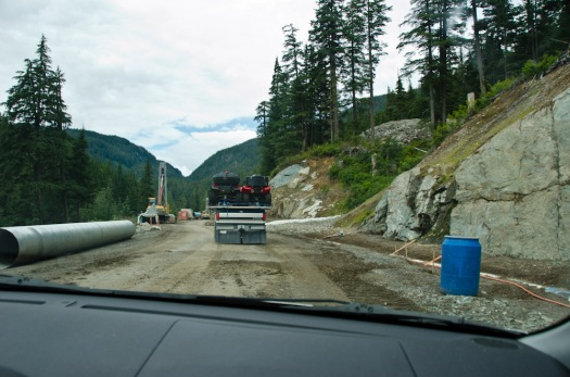 Driving through construction on the road to the glacier