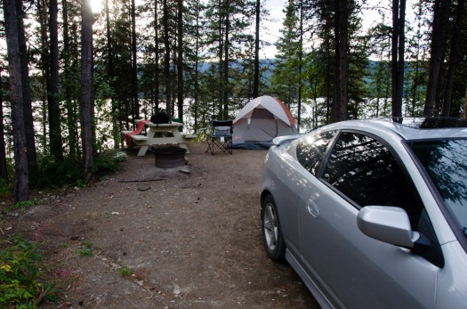 Campsite at Dease Lake. I stayed here for 3 nights.