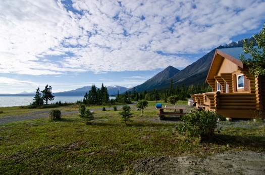 My awesome cabin at Cottonwood RV Park on the Alaska Highway at Kluane Lake.